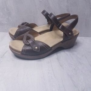 Dansko Leather Wooden Wedge Sandals